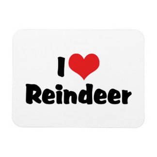 I Love Reindeer Rectangular Photo Magnet