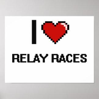 I Love Relay Races Digital Retro Design Poster
