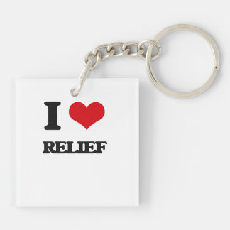 I Love Relief Double-Sided Square Acrylic Keychain