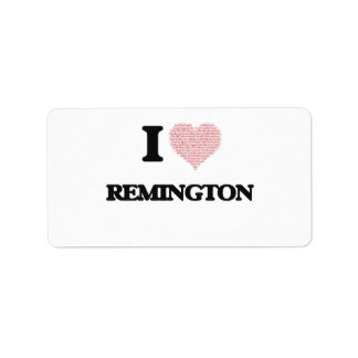 I Love Remington (Heart Made from Love words) Address Label