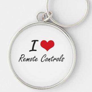 I Love Remote Controls Silver-Colored Round Keychain