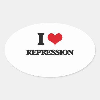 I Love Repression Oval Sticker