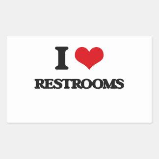 I Love Restrooms Rectangular Sticker