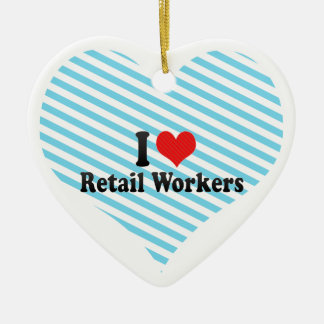 I Love Retail Workers Christmas Ornament