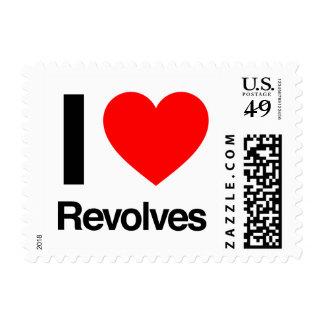 i love revolves postage stamps