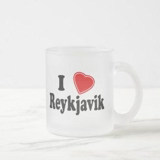 I Love Reykjavik Frosted Glass Coffee Mug