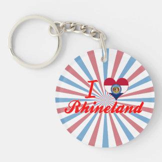 I Love Rhineland, Missouri Single-Sided Round Acrylic Keychain
