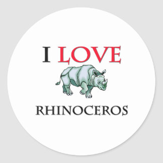 I Love Rhinoceros Classic Round Sticker