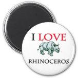 I Love Rhinoceros Fridge Magnets