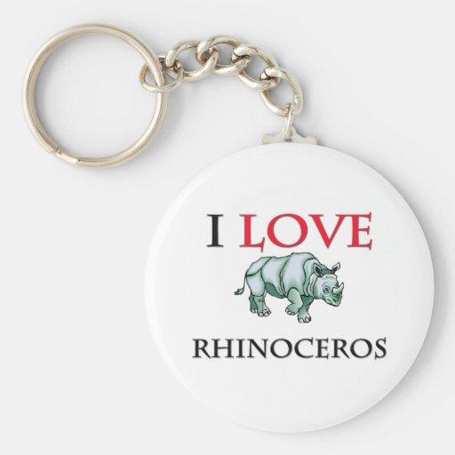 I Love Rhinoceros Keychain