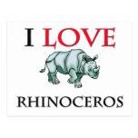 I Love Rhinoceros Post Cards