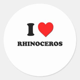 I Love Rhinoceros Round Sticker