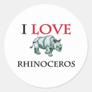 I Love Rhinoceros Round Stickers