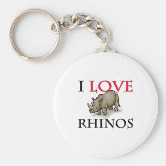 I Love Rhinos Basic Round Button Keychain