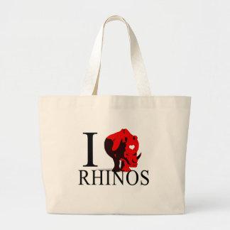 I Love Rhinos Tote Bags