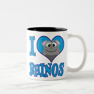 I Love rhinos Two-Tone Coffee Mug