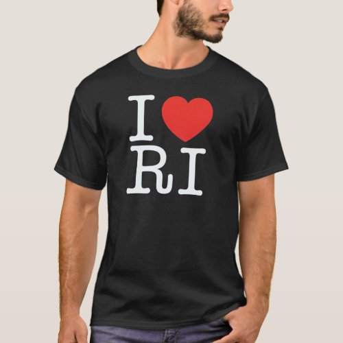 I LOVE RHODE ISLAND BLACK T_Shirt