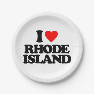 I LOVE RHODE ISLAND PAPER PLATE