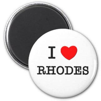 I Love Rhodes 2 Inch Round Magnet