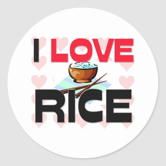I Love Rice Classic Round Sticker