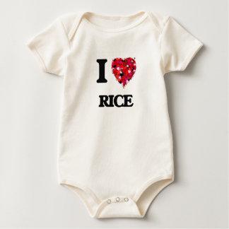 I Love Rice food design Baby Bodysuits