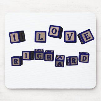 I love Richard toy blocks in blue Mouse Pad
