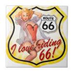 I Love Ridding Route 66 Pin Up Girl Ceramic Tile
