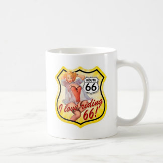 I Love Ridding Route 66 Pin Up Girl Classic White Coffee Mug