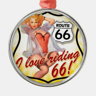 I Love Ridding Route 66 Pin Up Girl Metal Ornament