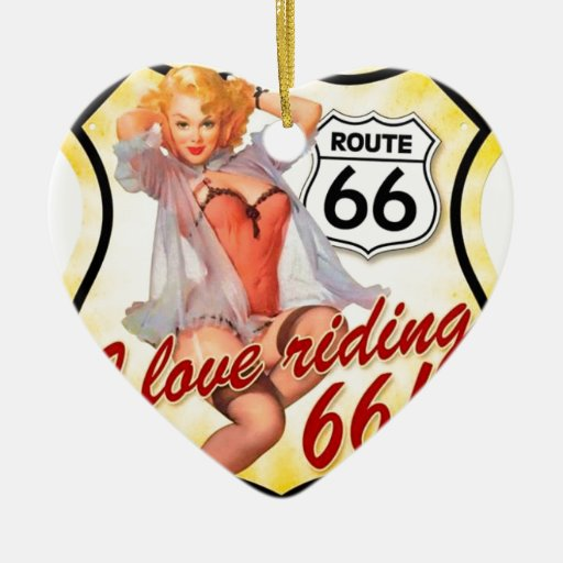 I Love Ridding Route 66 Pin Up Girl Double-Sided Heart Ceramic Christmas Ornament