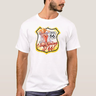 I Love Ridding Route 66 Pin Up Girl T-Shirt