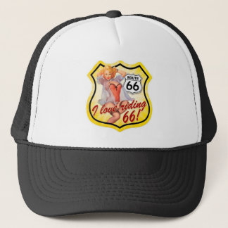 I Love Ridding Route 66 Pin Up Girl Trucker Hat