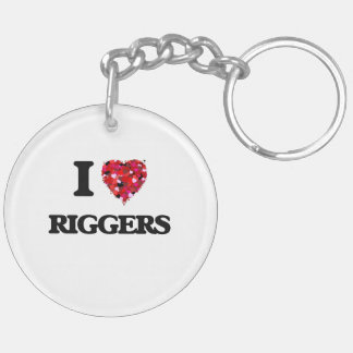 I love Riggers Double-Sided Round Acrylic Keychain