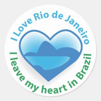 I Love Rio de Janeiro - I Leave my Heart in Brazil Round Stickers