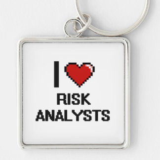 I love Risk Analysts Silver-Colored Square Keychain