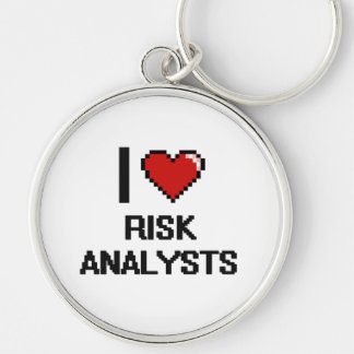 I love Risk Analysts Silver-Colored Round Keychain