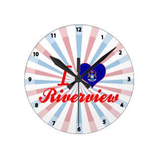 I Love Riverview, Michigan Round Wallclock