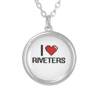 I love Riveters Round Pendant Necklace