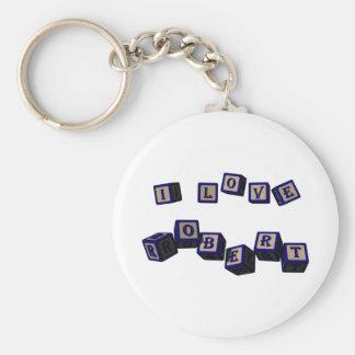 I love Robert toy blocks in blue Basic Round Button Keychain