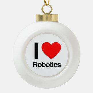 i love robotics ceramic ball christmas ornament