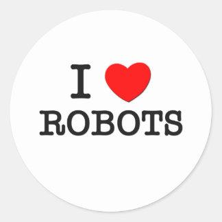 I Love Robots Classic Round Sticker
