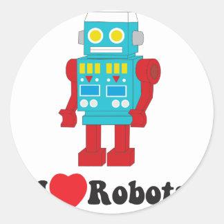 I Love Robots! Classic Round Sticker