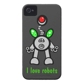 I Love Robots iPhone 4s Cases Gray