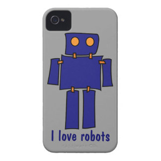 I Love Robots iPhone 4s Cases Gray and Blue