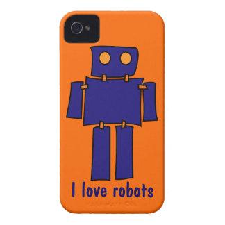 I Love Robots iPhone 4s Cases Orange and Blue