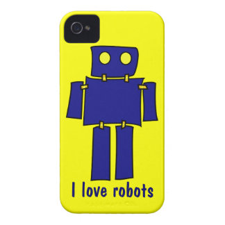 I Love Robots iPhone 4s Cases Yellow and Blue