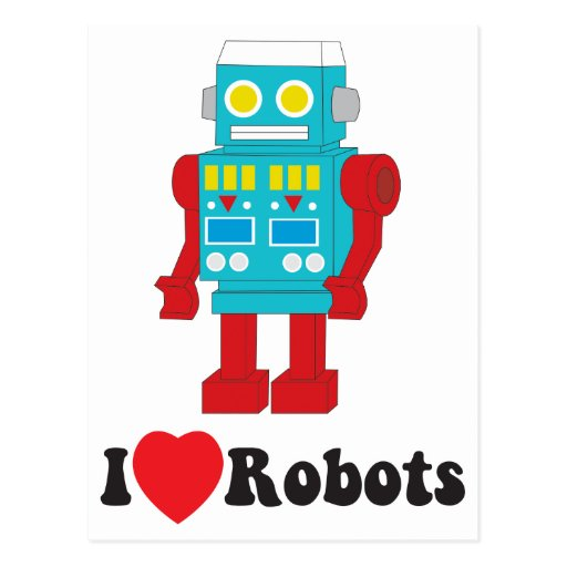 I Love Robots! Postcard