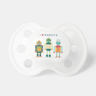 I love robots - unique bib for cool kids pacifier