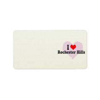 I Love Rochester Hills, United States Custom Address Labels