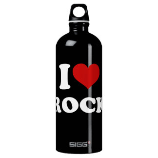 I Love Rock Aluminum Water Bottle